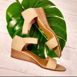 Lucky Brand Nude Leather Minimalist Wedge Sandal